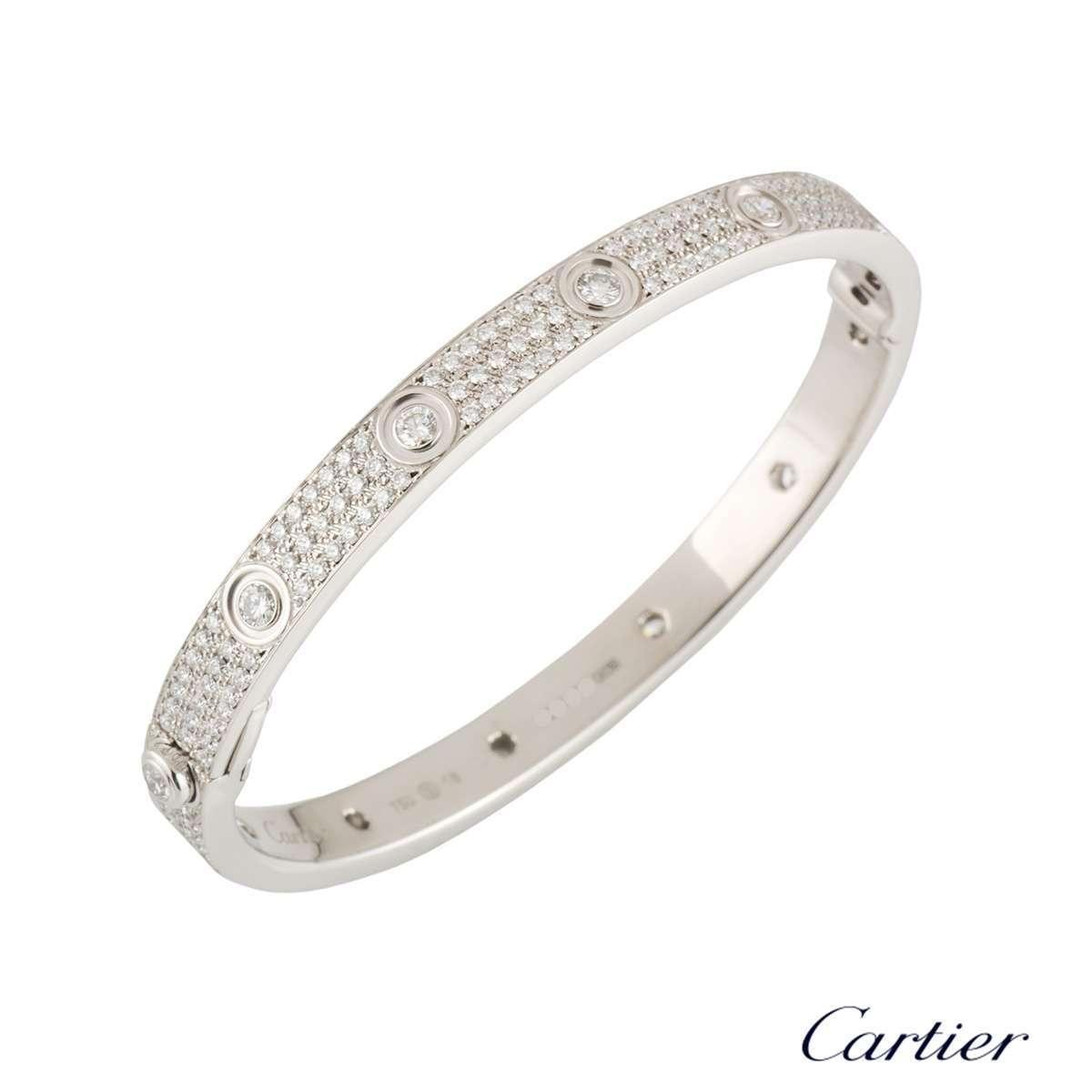 Cartier White Gold Pave Diamond LoveBracelet Size 18N6033602